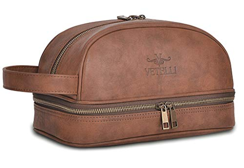 Vetelli Classic Leather Toiletry Bag and Dop...