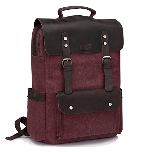 Vintage Leather Canvas Backpack for Women...