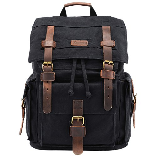 Kattee Men's Leather Canvas Backpack Large...