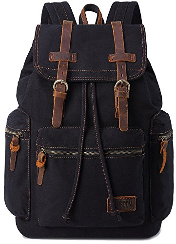 BLUBOON Canvas Vintage Backpack Leather...