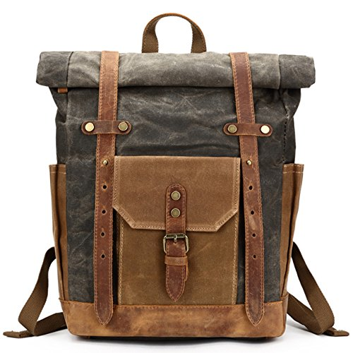 Mwatcher Canvas Leather Backpack Waterproof...
