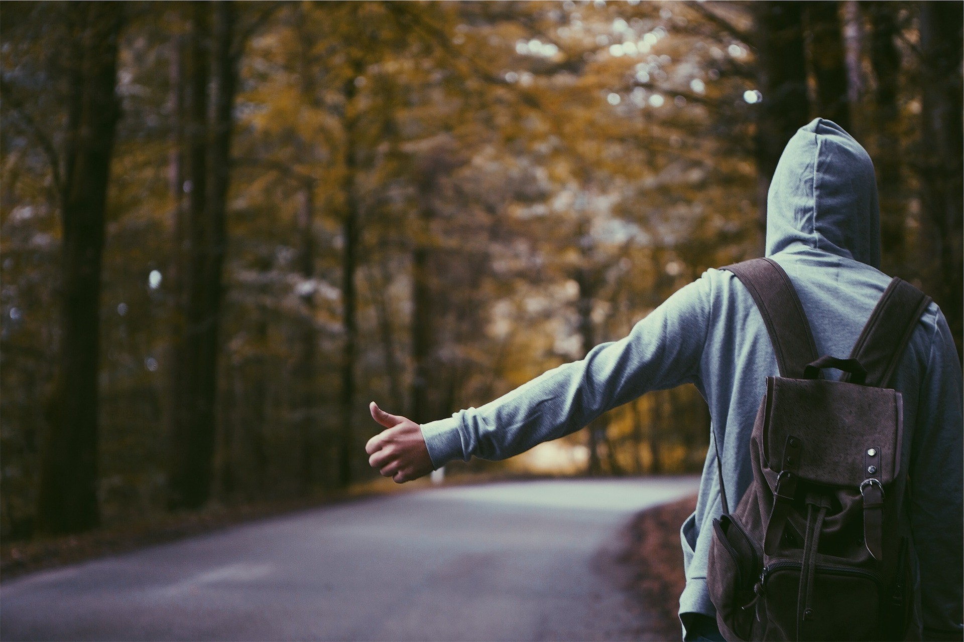 hitchhiker with backpack
